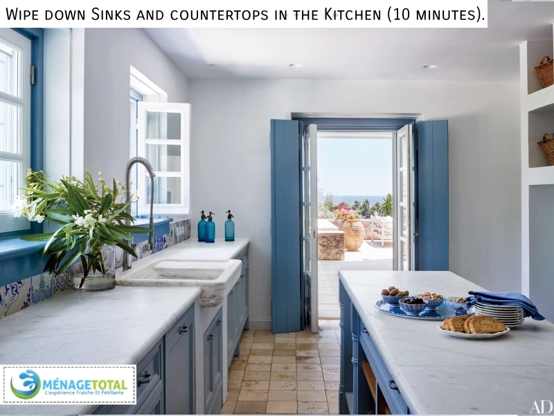 Wipe down Sinks and countertops in the Kitchen (10 minutes) - Menage Total