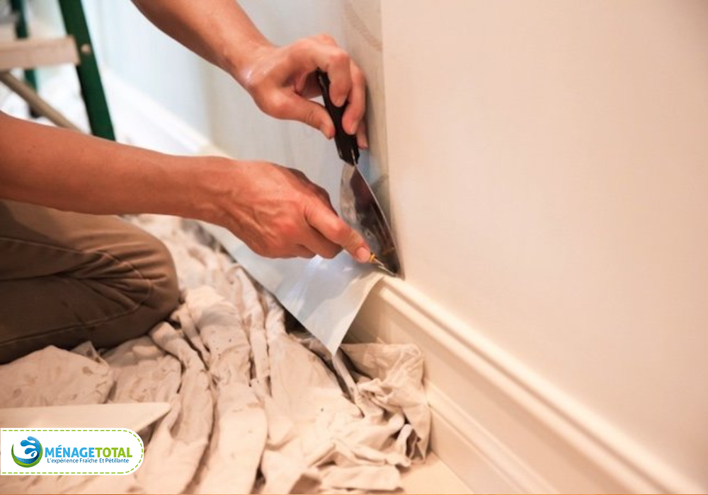 Wiping baseboards and moldings